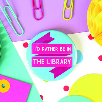 LIBRARY Fable & Black Book Lovers Badge Or Pocket Mirror