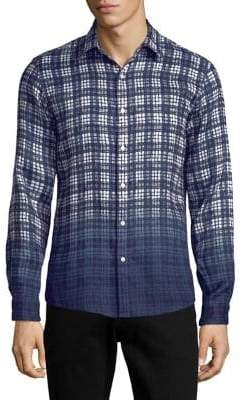 Michael Kors Dip-Dye Plaid Linen Button-Down Shirt