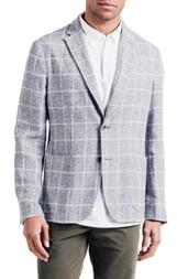 Good Man Brand Downtown Slim Fit Linen Blend Windowpane Sport Coat