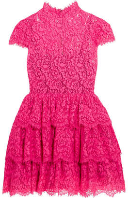 Alice + Olivia Alice Olivia - Ruffled Cotton-blend Corded Lace Mini Dress - Pink
