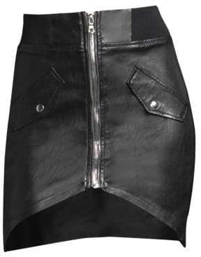 RtA Isla Leather Zip Skirt