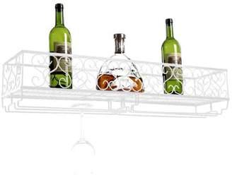 Yosoo Wall Mount Metal Wine Rack Bottle Champagne Glass Holder Storage Bar Accessory with Shelf,Wall Mount Wine Holder,Glass Holder