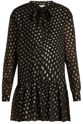 Saint Laurent Polka Dot Fil Coupe Silk Blend Dress - Womens - Black Gold