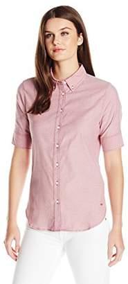 Dockers Women's Short Sleeve Button Down Oxford Shirt $23.70 thestylecure.com