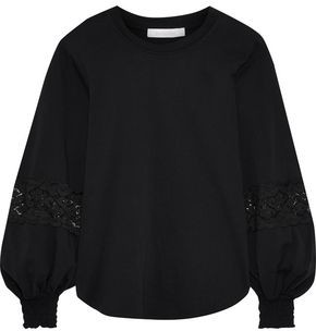 See by Chloe Lace-trimmed Cotton-jersey Blouse