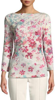 St. John 3/4-Sleeve Floral-Print Jersey