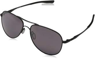 Oakley Elmont Polarized Round Sunglasses, Polished Chrome with Grey Gradient Polarized