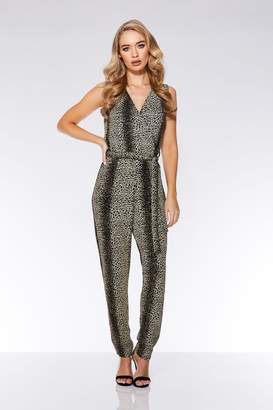 fb166854a3f Quiz Black and Gold Glitter Leopard Print Jumpsuit
