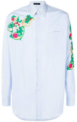 Versace striped embroidered shirt