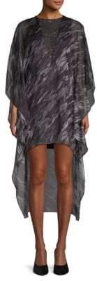 Halston Printed High-Low Shift Dress