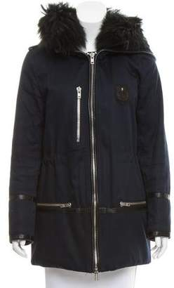 The Kooples Leather-Trimmed Hooded Coat