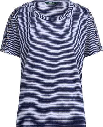 Ralph Lauren Lace-Up Linen-Cotton T-Shirt