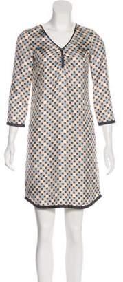 Marc Jacobs Silk Geometric Print Dress Beige Silk Geometric Print Dress