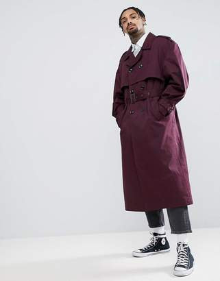 Asos DESIGN oversized trench coat in burgundy
