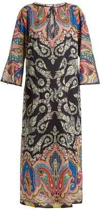 Etro - Paisley Print Tie Neck Cotton Kaftan - Womens - Black Multi