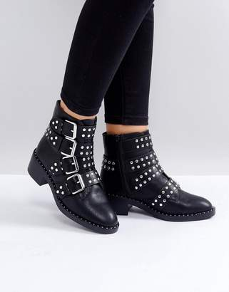 Glamorous Black Studded Buckle Flat Ankle Boots