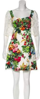 Dolce & Gabbana Lace-Accented Floral Print Dress