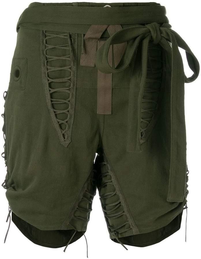 drawstring tie detail shorts