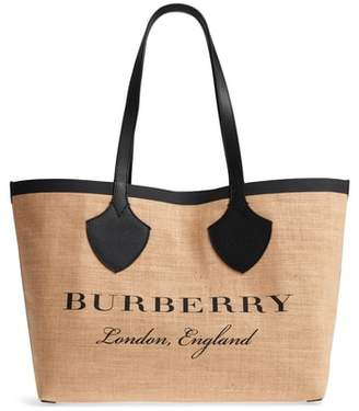 Burberry Medium Logo Print Jute Tote