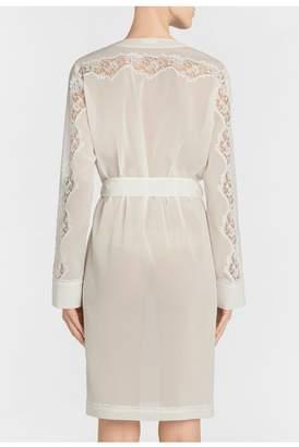 La Perla Liaison Off-White Short Silk Robe With Macrame Trim