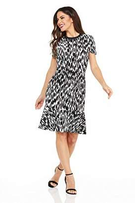 London Times Women's Short Sleeve Round Neck Fit & Flare Dress