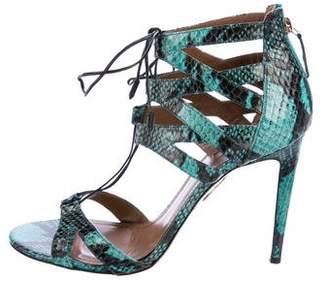Aquazzura Snakeskin Beverly Hills Sandals