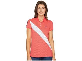 U.S. Polo Assn. Printed Stretch Pique Polo Shirt Women's Clothing