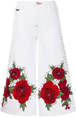 Philipp Plein embroidered and studded cropped flare jeans