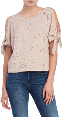 Soprano Distressed Cold Shoulder Tee