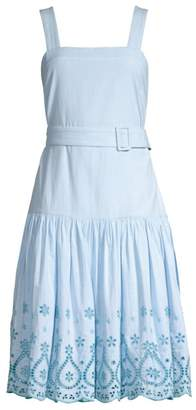 Draper James Embroidered Cotton Belted Midi Dress