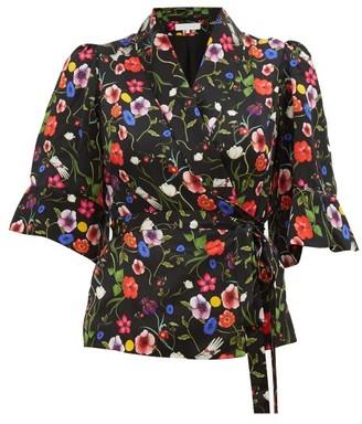 Borgo de Nor Solange Surreal Print Wrap Silk Blouse - Womens - Black Print