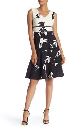 Taylor Colorblock & Floral Print V-Neck Dress