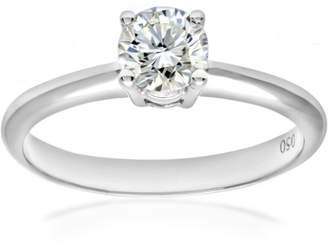 N. Naava Women's 18 ct White Gold 4 Claw Solitaire Engagement Ring, G/SI1 EGL Certified Diamond, Round Brilliant, 0.50ct, White Gold, M