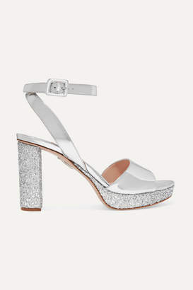 f8bc1fe2259b Miu Miu Glittered Mirrored-leather Platform Sandals - Silver