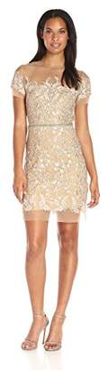 Nicole Miller Women's Floral Embroidered Tulle Short Sleeve Dress $230.34 thestylecure.com