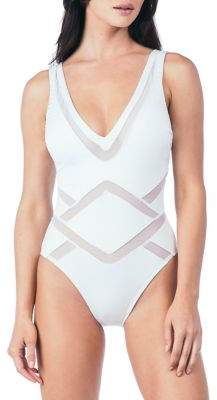 Kenneth Cole Reaction V-Neck One-Piece Swimsuit