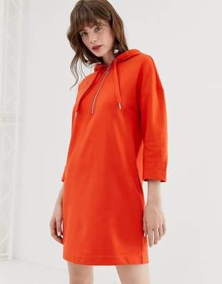Monki hooded sweatshirt dress in orange