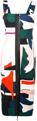 Cushnie et Ochs expressionist print zip-up dress