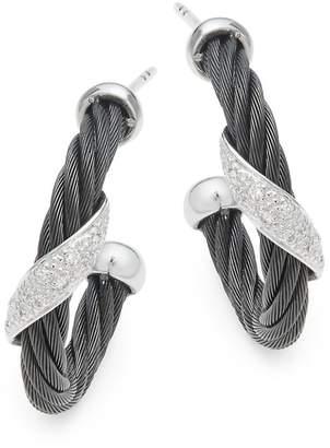Alor Women's 18K White Gold & Sterling Silver Diamond Studded Earrings