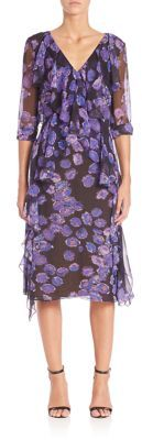 Jason Wu Floral Chiffon Long Sleeve Day Dress $1,795 thestylecure.com