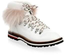Moncler Fur-Trim Leather Ankle Lace-Up Boots