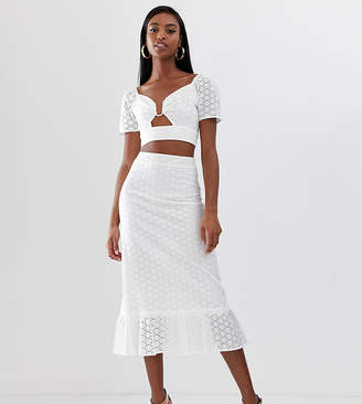 Fashion Union Tall midi skirt with peplum hem in broderie co-ord