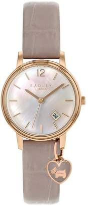 Radley Mother Of Pearl And Rose Gold Heart Charm Dial Pink Leather Strap Ladies Watch