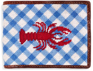 Brooks Brothers Lobster Gingham Needlepoint Wallet