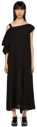 Yohji Yamamoto Black Asymmetric Draped Strap Dress