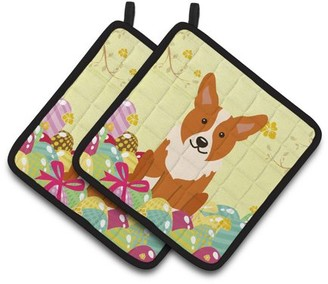 Corgi Caroline's Treasures Easter Eggs Pair of Pot Holders