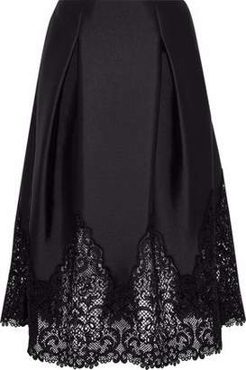 Sachin + Babi Guipure Lace-Paneled Pleated Duchesse Satin Skirt