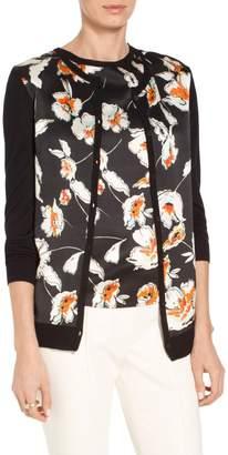 St. John Modern Floral Hammered Satin Silk Jersey Knit Cardigan