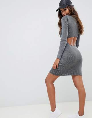 Asos DESIGN Rib Knit Dress with Cut Out Back