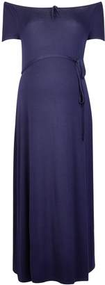 Dorothy Perkins Womens **Maternity Navy Sweetheart Bardot Midi Dress